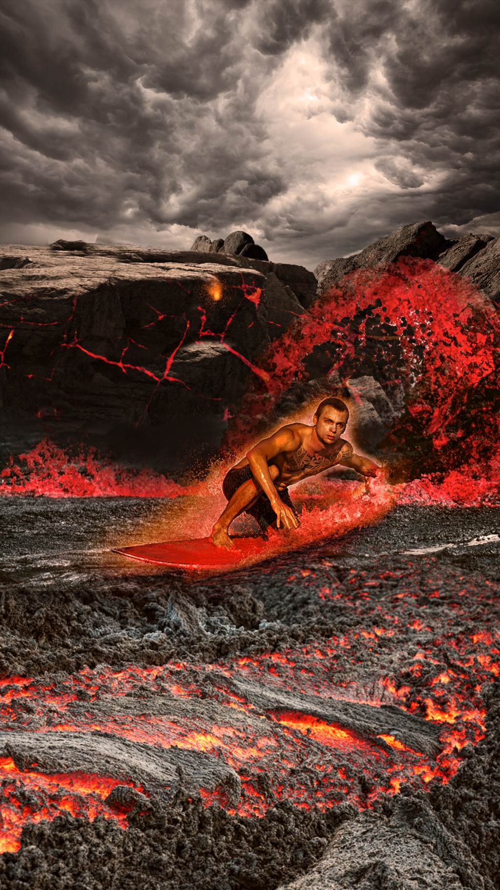 Surfing In Lava Surfer Lava Clouds Ashes Volc