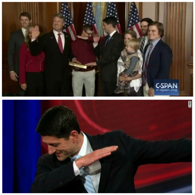 Two weeks ago, House Speaker Paul Ryan asked this kid if he was all right or whether he had to sneeze.  A couple days ago, he started dabbing.  It's like some kind of evil, infectious virus.  #paulryan #dab #zombieapocolypse