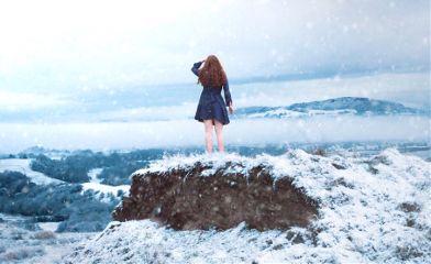 me girl selfportrait winter snow
