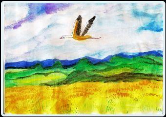 freetoedit watercolor bird handmade landscape