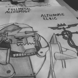 manga draw fullmetal alphonseelric whiteandblack