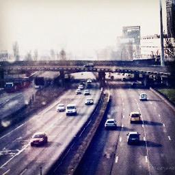 cars highway landscape city