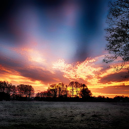 sunrise landscape panorama colorful sky hdr