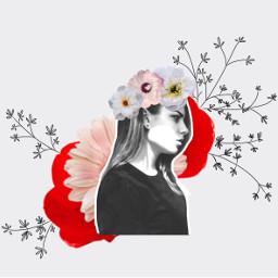 freetoedit flowercollage girl